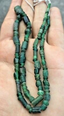 Excavated Ancient Roman Green glass Trannslucent Original Ancient Bead Strand