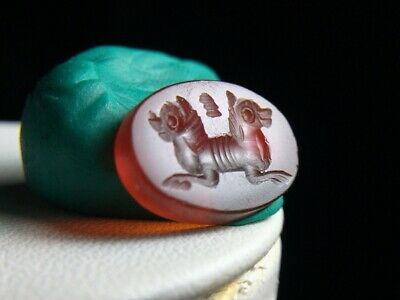 Antique Carnelian Intaglio Bizarre Double 2 Headed Knight Horse Stamp Bead