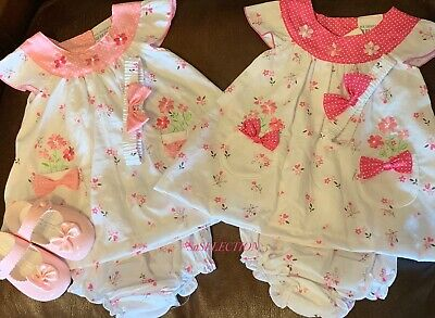 Baby Girls Flowers & Bow Dress Headband & Pants Set-9/12 -12/18-18/24 Months