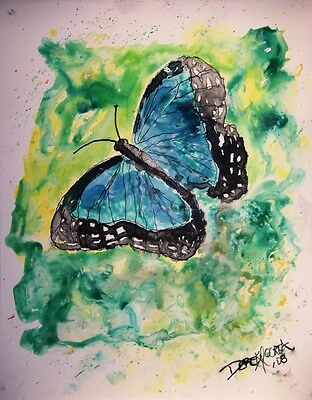 Blue butterfly monarch green abstract modern watercolor painting art print