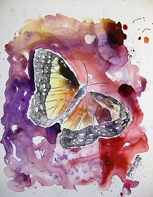 Purple butterfly monarch orange abstract pretty watercolor painting art print