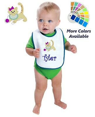 Personalized Baby Bib White Cotton Terry with Contrast Trim Baby Kitten Design