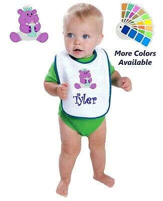 Personalized Baby Bib White Cotton Terry with Contrast Trim Baby Hippo Design