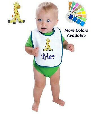 Personalized Baby Bib White Cotton Terry with Contrast Trim Baby Giraffe Design