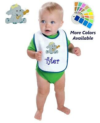 Personalized Baby Bib White Cotton Terry with Contrast Trim Baby Elephant Design