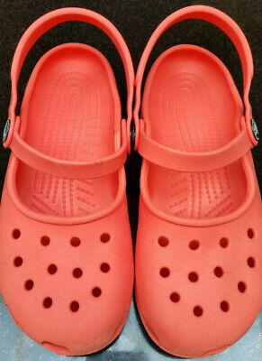 Crocs Girls Coral Red Mary Jane Style Sandals  Size  1 - 3  Very Good Condition