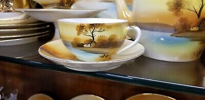 Vintage Noritake Hand Painted Tree Landscape Tea Cup & Saucer Fine Bone China
