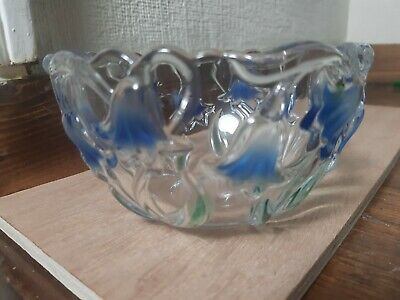 PRETTY GLASS BOWL WITH INLAID BLUE FLOWERS Misaka? 5 Inches Diameter   Vx111