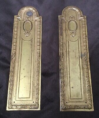 Vintage French Empire style antique brass pair door push plates