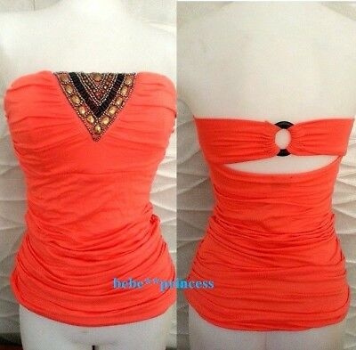 NWT bebe coral beaded stud embellished strapless cutout tube tank top S Small