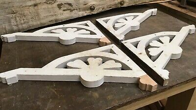 Rare Handmade Vintage Architectural Wooden Corbel Porch Post Brackets/ Set Of 4