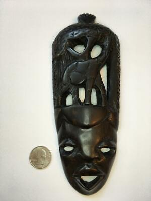 Vintage African Mask Hand Carved Ethnic Ebony Tribal Art From Malawi Africa