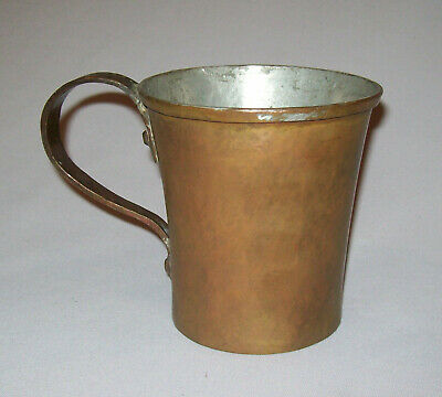 Antique Vtg Late 18th Early 19th C 1800's Handled Copper Mug or Can Keyed Seam
