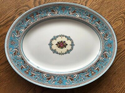 Wedgwood Turquoise Florentine Oval Meat Plate W2714 Vintage China VGC