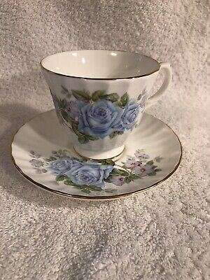 Duchess Light Blue Roses Tea Cup & Saucer Fine Bone China England Gold Trim