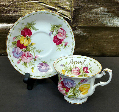 Royal Albert Flower Of The Month Tea Cup & Saucer Set April Sweet Pea Euc