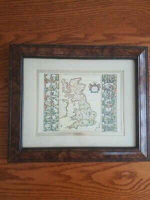 VTG Framed Map Britannia England Great Britian 10x12 Antique Edward Art Products