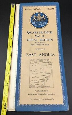 Ordnance Survey of Great Britain: Sheet 9 East Anglia 1946 Map Quarter Inch