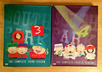 Lot of 2 DVD box sets South Park the Complete Third 3 and Fourth 4 Seasons