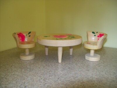 Vintage Hand Painted Doll House Furniture Table & 2 Chairs Japan (3 Piece Set)