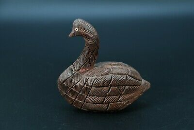 Wooden Carved Duck Statue Hand Crafte Vintage Brass Fitted Swan Figure Nepal