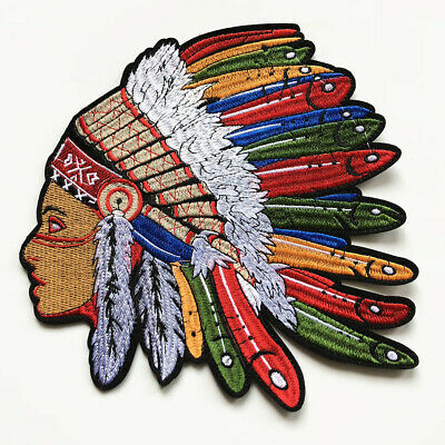Large Embroidery Indian Chief Feather Sew Iron On Patch Badge Bag Jeans Applique