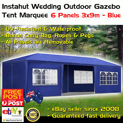 Instahut 3x9m Gazebo Tent Party Wedding Marquee Event Outdoor Camping Blue 6 Pan