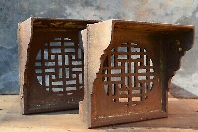 Pair of Reclaimed Victorian Cast Iron Air Vent Bricks old vintage edwardian vent