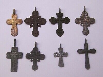 Eight different beautiful and ancient crosses. 17-18 century. Good gift.