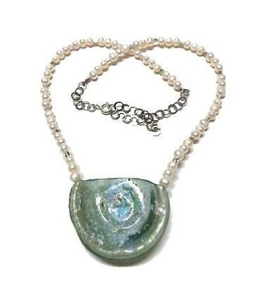 Roman Glass Silver 925 Authentic O.O.A.K Bluish Fragment 200 B.C Necklace Isra