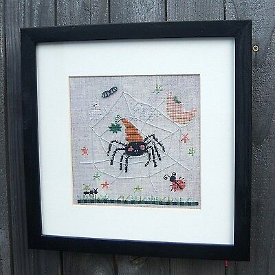 Halloween THE ITSY BITSY SPIDER Finished Cross Stitch Fanci That Ghost Linen
