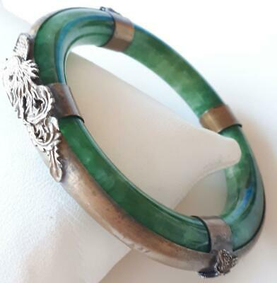 Antique Victorian Chinese Green Hard Stone Dragon & Butterfly Bangle - Bracelet
