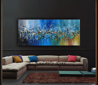 Blue Modern Wall Art Decor Abstract Painting on Canvas Made2Order Artwork