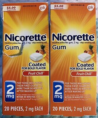 Nicorette Nicotine Gum Fruit Chill 2mg Stop Smoking Aid, 2x 20 Count Boxes = 40