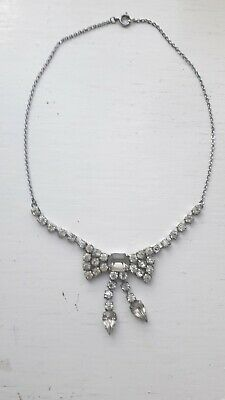 Vintage Art Deco Rhinestone and Chrome Necklace: 1930s/40s
