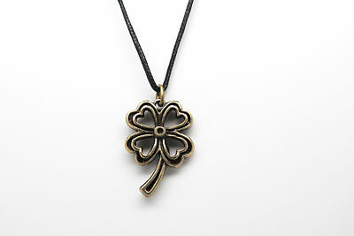 """Four Leaf Clover Style Fashion Pendant Necklace with 28"""" Black Cord K139"""