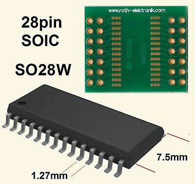 SO28W Adapter PCB  28-pin - SOIC RE932-08  Roth Elektronik Gold, Epoxy Glass FR4
