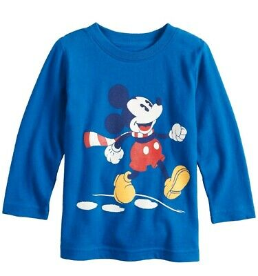 NWT Disney's Baby Boys Blue Mickey Mouse Skipping Shirt Size 12 Months