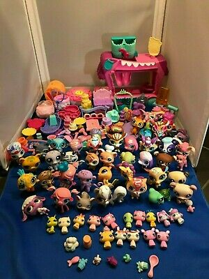 LPS Little Pet Shop Lot of 60 Pets & Accessories Includes Hasbro Car 3+ LBS