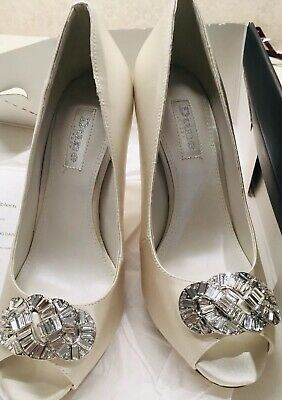 Dune Ivory Satin Peep Toe Diamante Size 3 Brand New  -Dolley