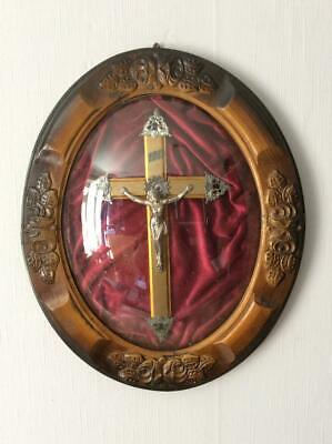 Antique C.1900 French Crucifix in glass domed oval carved Oak frame
