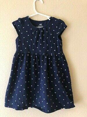 H&M Girls Navy Blue Heart Dress Size 2-4years - Very Soft