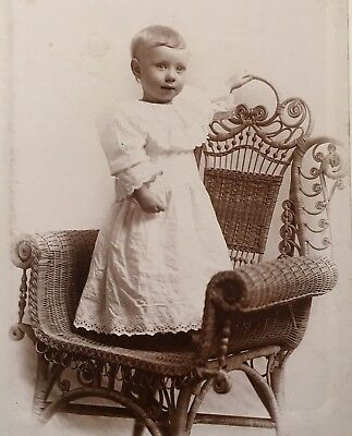 1890's Adorable Young Boy Toddler Dress CABINET CARD PHOTO Chillicothe Missouri