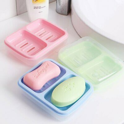 Creative Double Cell Soap Box Dish Plate Holder Rack Drainer Bathroom Shower
