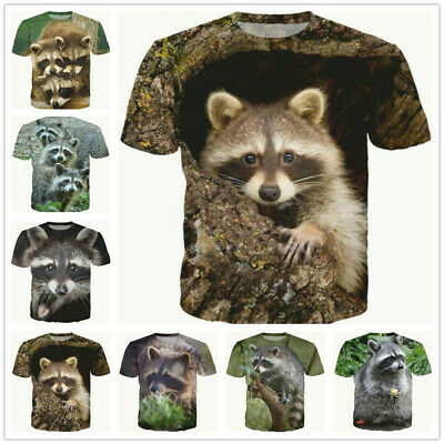 Fashion Men/Women Cute Animals Raccoon 3D Print Casual TShirt Short Sleeve
