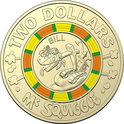 """Brand New 2019 Mr Squiggle & Friends """"Bill"""" $2 Two Dollar Coin UNC Tracked Post"""