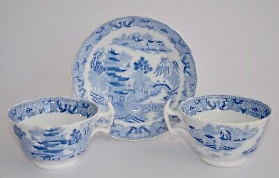 19th Century Blue & White WILLOW Trio - 2 Cups and 1 Rimmed Saucer