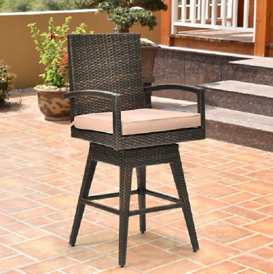 Outdoor Rattan Chair Patio Bar Stools Arm Rest Chairs Cushions Swivel Seat Arm