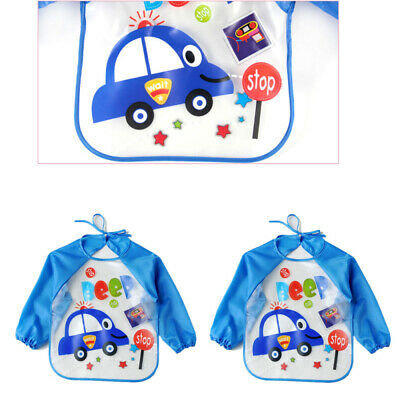 Cute Baby Toddler Waterproof Long Sleeve Bibs Children Kid Feeding Smock Apron