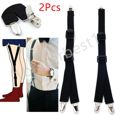 New 1Pair Y Men's Elastic Garter And Shirt Strap Condole Belt Clothes Fashion UK